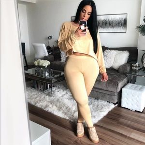 Cropped sweater and pants set